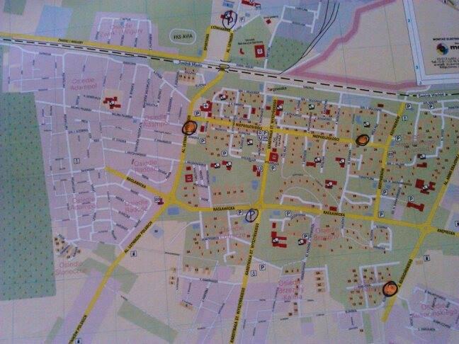 Mapa rowerowa Świdnika, na której zaznaczone są planowane stacje z rowerem miejskim.