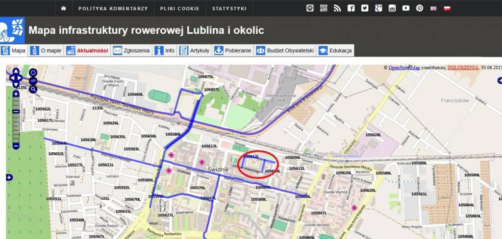Ulice z kontraruchem na mapie