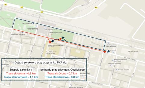 Ryc. 7 Skrzyżowanie ulic gen. Okulickiego i Wyspiańskiego.