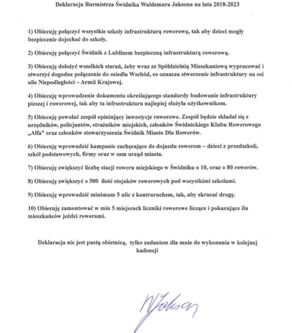 Deklaracja Burmistrza Waldemara Jaksona